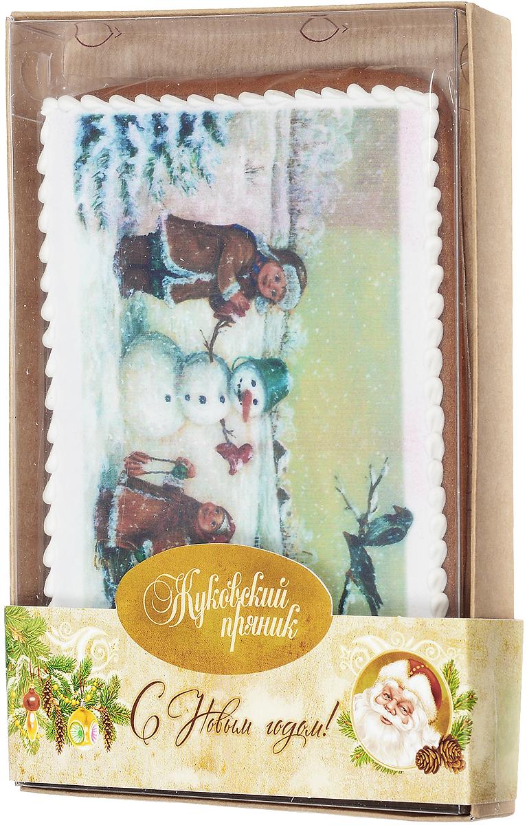 Жуковский пряник Дети и снеговик, 140 г00-00001418Медово-имбирный пряник Жуковский Дети и снеговик с росписью из айсинга, фотопечатью на сахарной бумаге. Отличный подарок на Новый год!