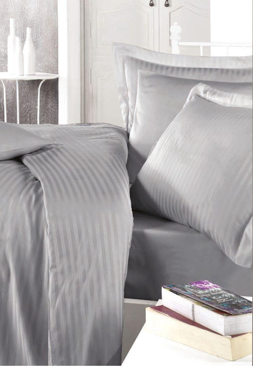 Комплект белья Clasy Stripe Satin, евро, наволочки 50х70, цвет: серый. 52385238Товары под брендом Clasy изготовлены в Турции из высококачественного хлопка на одной из ведущих фабрик. Все изделия упакованы в подарочные картонные коробки, к которым прилагается фирменный пакет с логотипом.