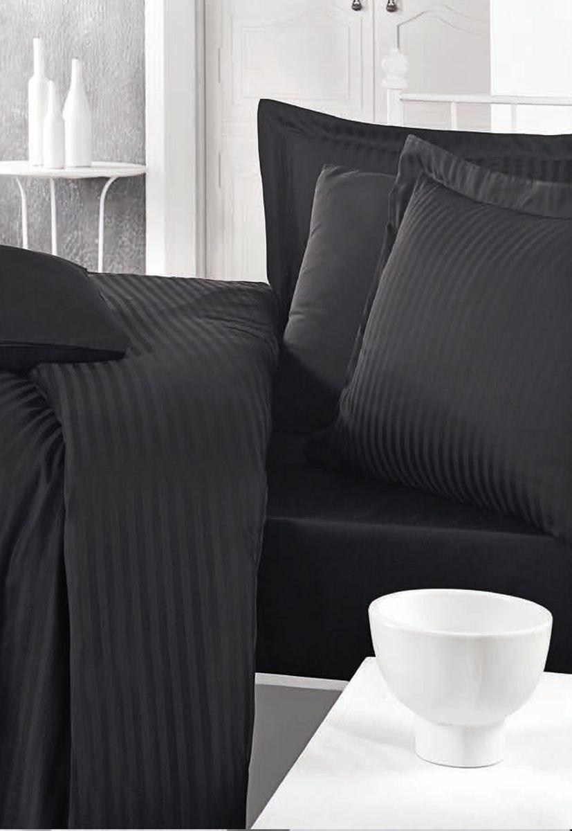 Комплект белья Clasy Stripe Satin, евро, наволочки 50х70, цвет: черный. 52415241Товары под брендом Clasy изготовлены в Турции из высококачественного хлопка на одной из ведущих фабрик. Все изделия упакованы в подарочные картонные коробки, к которым прилагается фирменный пакет с логотипом.