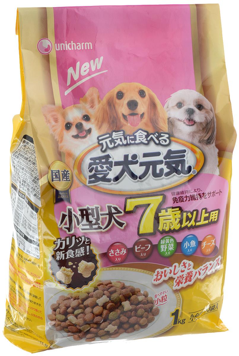 Корм сухой Unicharm Aiken Genki, для мелких пород старше 7 лет, с курицей, овощами, мелкой рыбой и сыром, 1 кг615737Unicharm Aiken Genki - это хорошо сбалансированный сухой корм для собак мелких пород старше 7 лет. Содержит все необходимые витамины и минералы для поддержания здоровья вашего питомца. Крокеты имеют малый размер, чтобы собака легко смогла их разжевать. Продукт содержит витамины группы В, витамины С и Е, которые в сочетании с белком укрепляют иммунитет и помогают противостоять инфекциям. Пониженное содержание жира и соли облегчает нагрузку на печень и почки. Корм легко усваивается, содержит питательные волокна для улучшения пищеварения и стабилизации стула собак. Жирные кислоты Омега-6 и Омега-3 обеспечивают здоровое состояние кожи и шерсти вашего питомца. Товар сертифицирован.