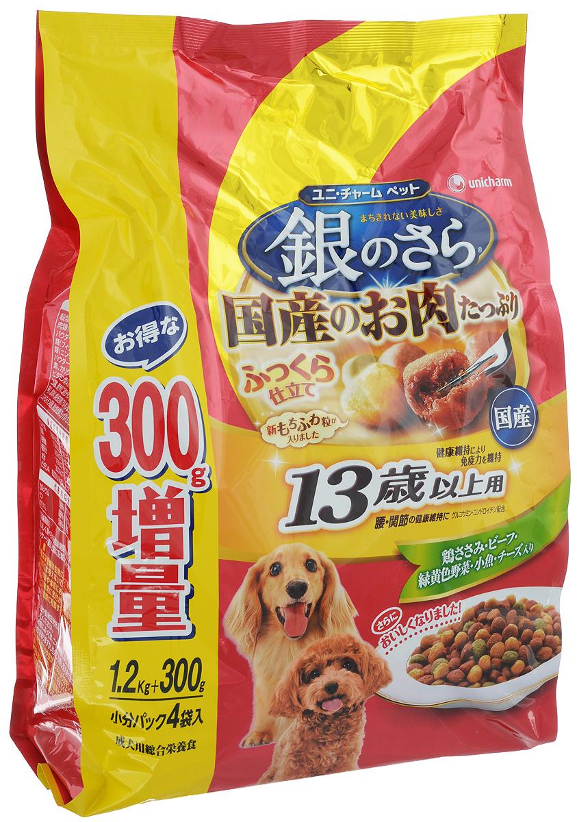Корм мягкий Unicharm Silver Plate, для собак старше 13 лет, с курицей, говядиной, рыбой, овощами и сыром, 1,2 кг686966Сбалансированный корм для собак старше 13 лет Unicharm Silver Plate обладает неповторимым вкусом курицы, говядины, рыбы, овощей и сыра. Прекрасно удовлетворяет потребности пожилой собаки в питательных веществах, микроэлементах и минералах. Особая рецептура продукта помогает собаке оставаться в хорошей физической форме. Эксклюзивная формула, содержащая кальций, фосфор, глюкозамин и хондроитин, поддерживает здоровье когтей, хрящей и тазобедренных суставов, что немаловажно для опорно-двигательного аппарата пожилой собаки. Витамины группы В, витамины С и Е в сочетании с белком укрепляют иммунитет и помогают противостоять инфекциям. Пониженное содержание жира облегчает нагрузку на печень и почки. Корм легко усваивается, содержит пищевые волокна для улучшения пищеварения. В состав корма входят полезные вещества и микроэлементы, в том числе Омега-6 и Омега-3, необходимые для поддержания здорового состояния кожи и шерсти вашего питомца. За счёт того, что гранулы корма нетвёрдые, их...