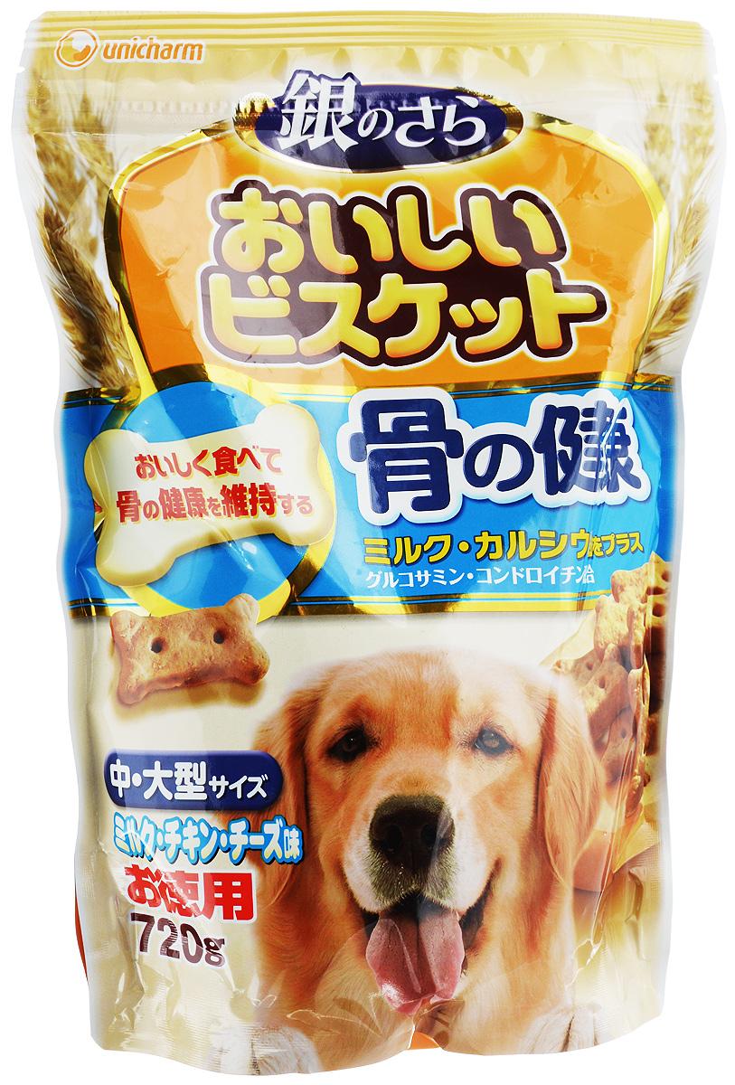 Лакомство Unicharm Delicious Biscuits, для собак крупных пород, печенье с кальцием и молоком, 720 г603581Ароматное печенье Unicharm Delicious Biscuits со вкусом молока, курицы и сыра - это полезное лакомство в виде косточек для крупных собак. В состав печенья входят важнейшие витамины и минералы, а также кальций и фосфор, необходимые для здоровья костей и зубов собаки. Сочетание глюкозамина и хондроитина обеспечивает здоровое состояние тазобедренных суставов, что немаловажно для собак мелких пород. Печенье Delicious Biscuits - это залог хорошего аппетита и отличного самочувствия вашей собаки. Товар сертифицирован.