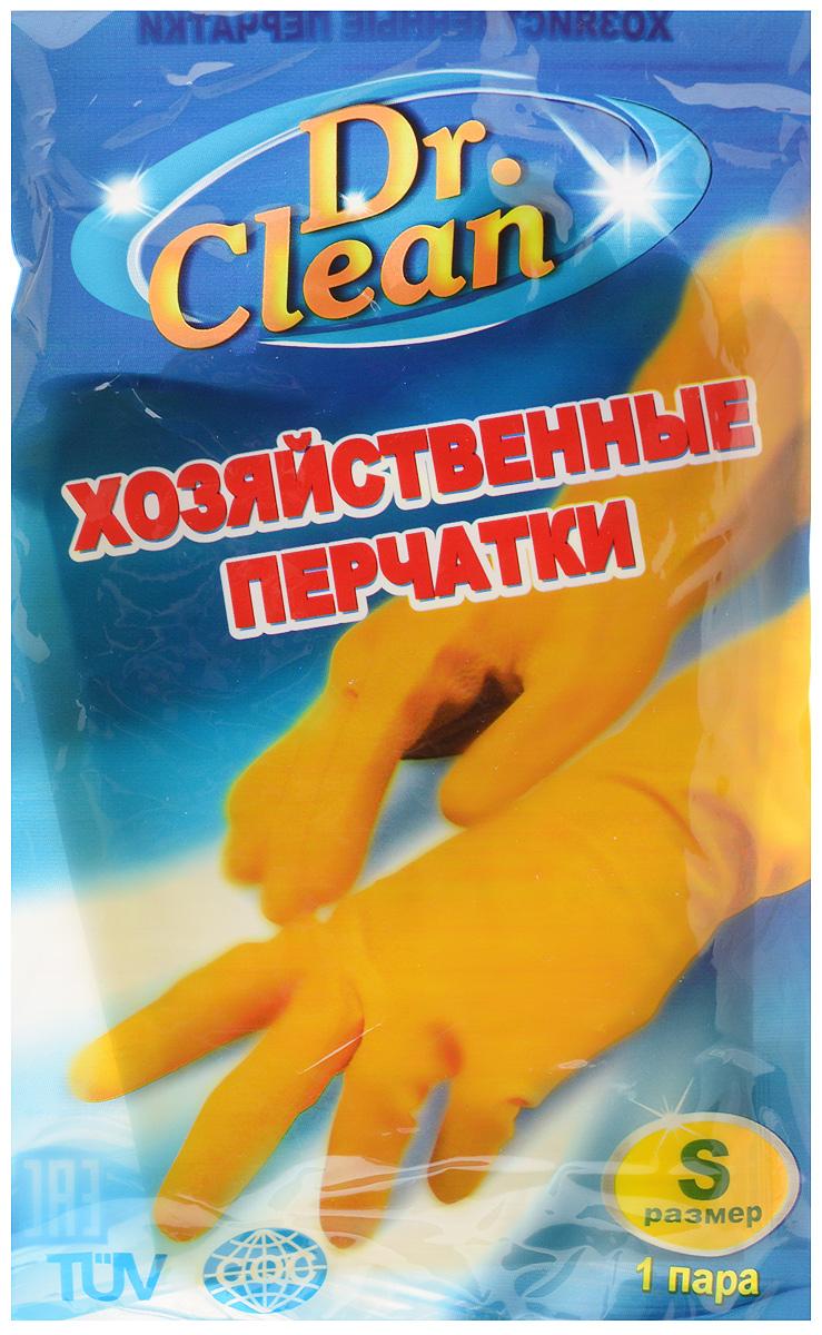 Перчатки хозяйственные Dr. Clean, цвет: желтый. Размер S44869Универсальные перчатки Dr. Clean произведены из высококачественного латекса, бесшовные, с рифленой поверхностью рабочих частей, которая позволяет удерживать мокрые предметы. Перчатки подходят для различных видов домашних работ. Изделия эластичны, хорошо облегают руку.