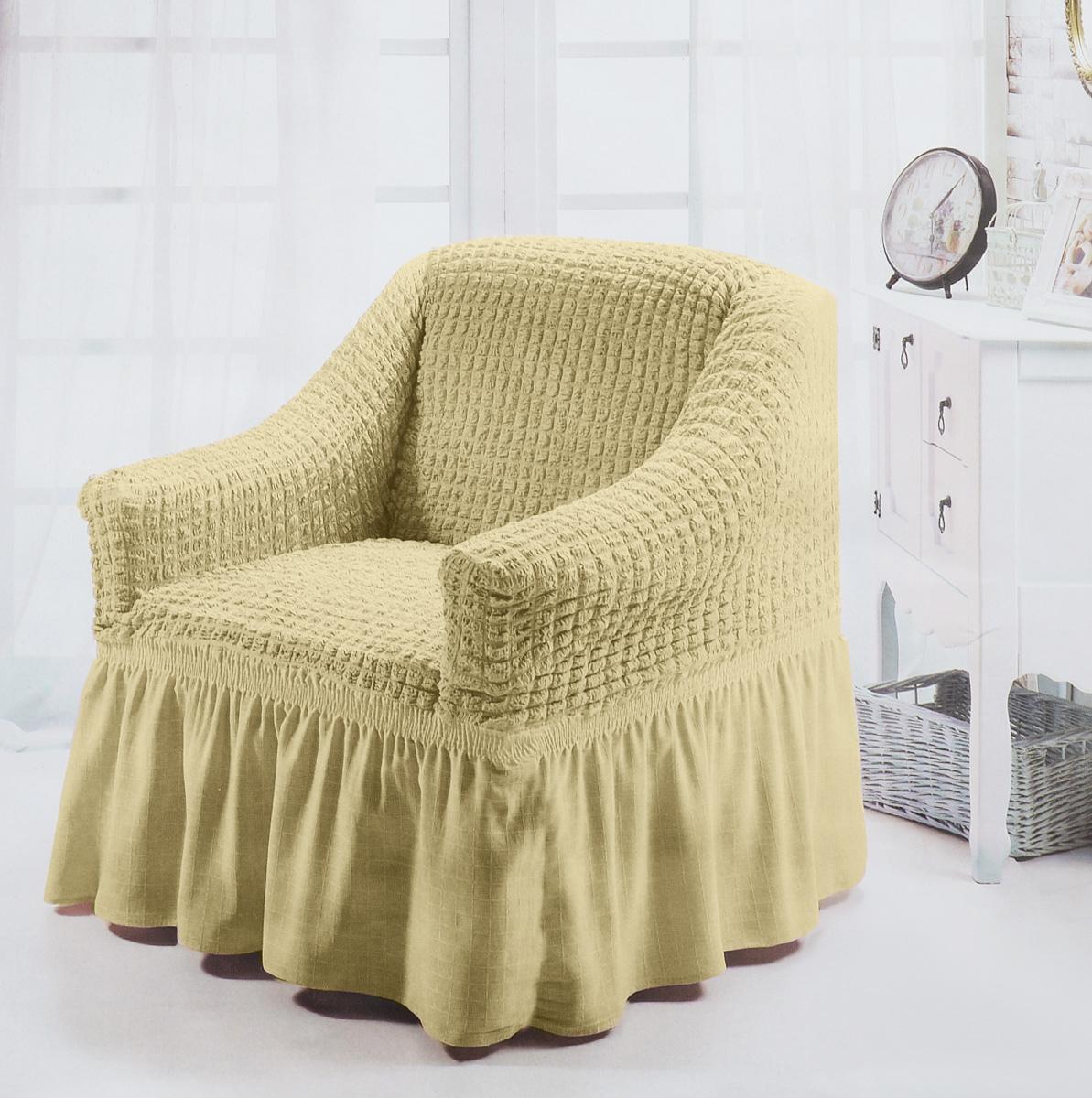 Чехол для кресла Burumcuk Bulsan, цвет: бежевый1797/CHAR001Чехол на кресло Burumcuk Bulsan выполнен из высококачественного полиэстера и хлопка с красивым рельефом. Предназначен для кресла стандартного размера со спинкой высотой в 140 см. Такой чехол изысканно дополнит интерьер вашего дома. Изделие прорезинено со всех сторон и оснащено закрывающей оборкой. Ширина и глубина посадочного места: 70-80 см. Высота спинки от сиденья: 70-80 см. Высота подлокотников: 35-45 см. Ширина подлокотников: 25-35 см. Длина оборки: 35 см.