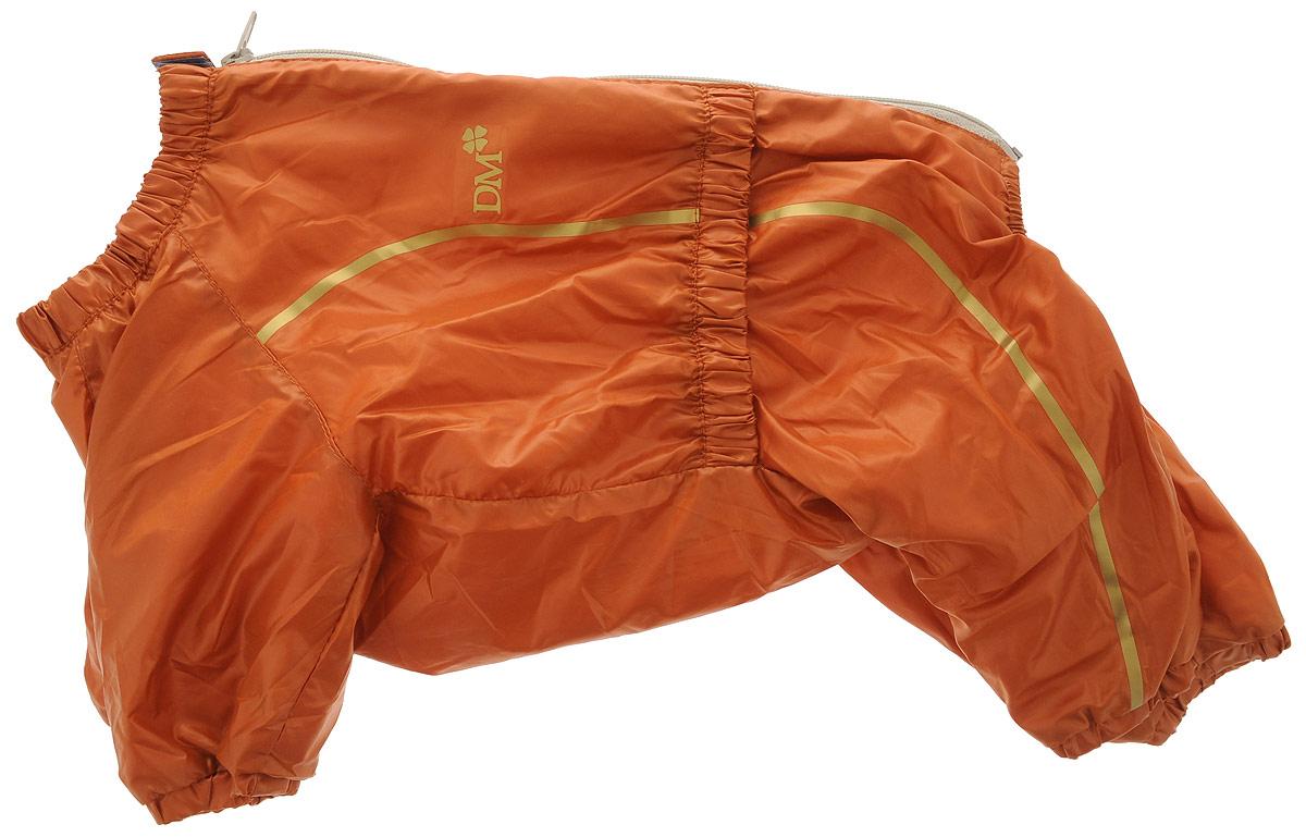 Комбинезон для собак Dogmoda Альпы, для девочки, цвет: оранжевый, золотой. Размер 4 (XL). DM-150326DM-150326-4_оранжевыйКомбинезон для собак Dogmoda Альпы отлично подойдет для прогулок поздней осенью или ранней весной. Комбинезон изготовлен из полиэстера, защищающего от ветра и осадков, с подкладкой из флиса, которая сохранит тепло и обеспечит отличный воздухообмен. Комбинезон застегивается на молнию и липучку, благодаря чему его легко надевать и снимать. Ворот, низ рукавов и брючин оснащены внутренними резинками, которые мягко обхватывают шею и лапки, не позволяя просачиваться холодному воздуху. На пояснице имеется внутренняя резинка. Изделие декорировано золотистыми полосками и надписью DM. Благодаря такому комбинезону простуда не грозит вашему питомцу и он не даст любимцу продрогнуть на прогулке. Длина спины: 34 см. Ширина спины: 20 см.