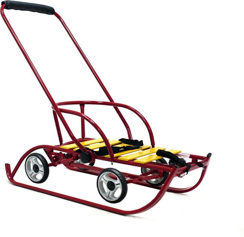 Санимобиль Санки с колесами Премиум цвет бордовый