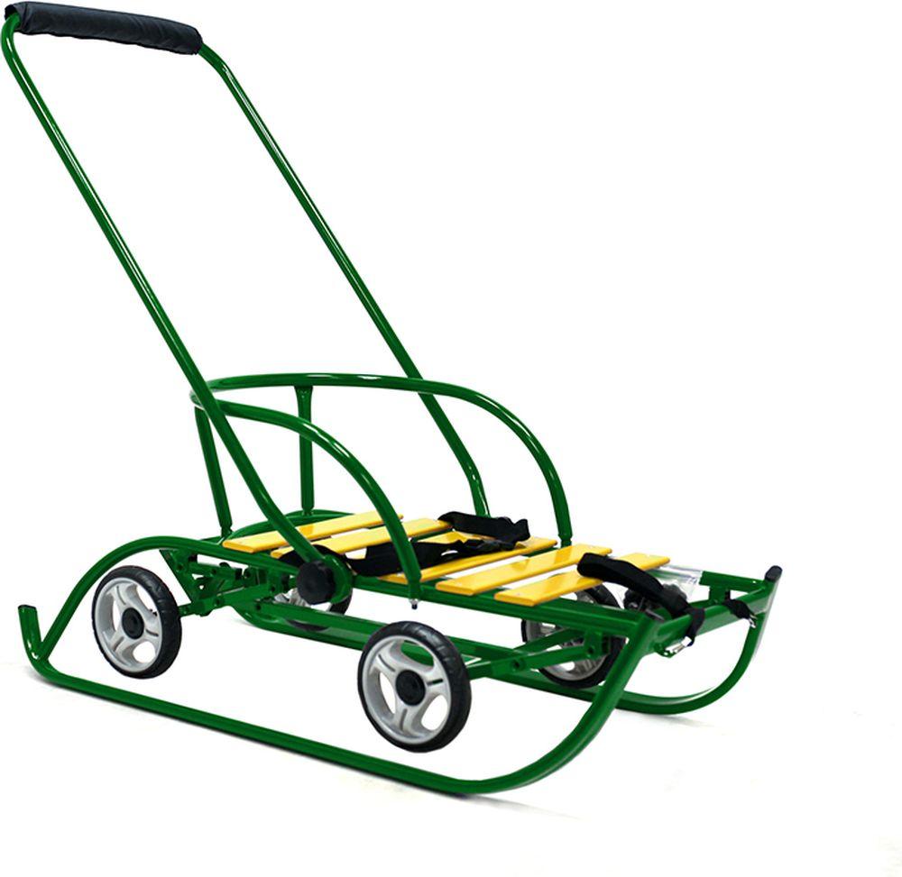 Санимобиль Санки с колесами Премиум цвет зеленый