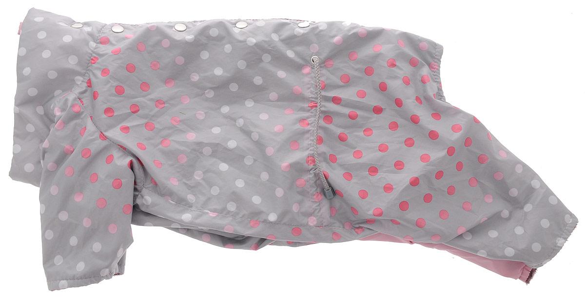 Комбинезон для собак Yoriki Маскарад, для девочки. Размер XXL347-25/розовый/серыйКомбинезон для собак Yoriki Маскарад отлично подойдет для прогулок в прохладную погоду осенью или весной. Верх комбинезона выполнен из водоотталкивающего полиэстера с ярким принтом. Подкладка изготовлена из мягкой вискозы. Низ рукавов и брючин оснащен широкими стильными манжетами. Застегивается комбинезон на спине на кнопки и дополнительно на пояснице затягивается шнурком. Благодаря такому комбинезону вашему питомцу будет комфортно наслаждаться прогулкой. Длина по спинке: 36 см. Обхват шеи: 40 см.
