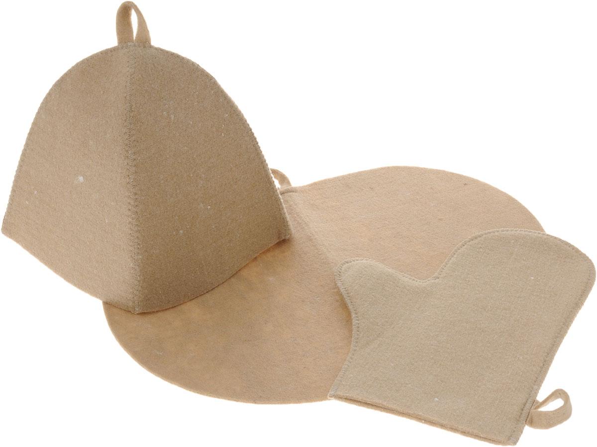 Набор для бани и сауны Главбаня, цвет: бежевый, 3 предметаБ1602_бежевыйОригинальный набор для бани Главбаня включает в себя шапку, коврик и рукавицу. Изделия выполнены из войлока (полиэстер), предметы комплекта обладают великолепными гигроскопичными свойствами и защищают от высоких температур в парной. Оригинальный дизайн изделий добавит эстетики банным процедурам. Такой набор поможет с удовольствием и пользой провести время в бане, а также станет чудесным подарком друзьям и знакомым, которые по достоинству его оценят при первом же использовании. Рекомендуется стирка при температуре. Размер коврика: 44 х 33 см. Обхват головы: 62 см. Размер рукавицы: 29 х 23 см.