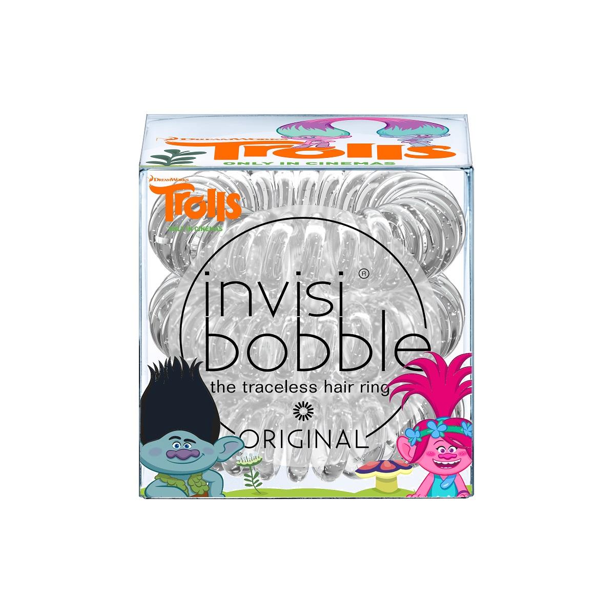 Резинка-браслет для волос Invisibobble Original Trolls, 3 шт. 30653065Резинки-браслеты invisibobble® Original в оттенке Sparkling Clear из коллекции Trolls Edition напомнят о невероятных путешествиях весёлых троллей из знаменитого мультфильма! Оригинальные резинки-браслеты invisibobble в форме телефонного шнура, созданные в Германии. Подходят для всех типов волос, надежно фиксируют причёску, не оставляют заломов и не вызывают головную боль благодаря неравномерному распределению давления на волосы. Кроме того, они не намокают и не вызывают аллергию при контакте с кожей, поскольку изготовлены из искусственной смолы. Подходят для любого возраста.
