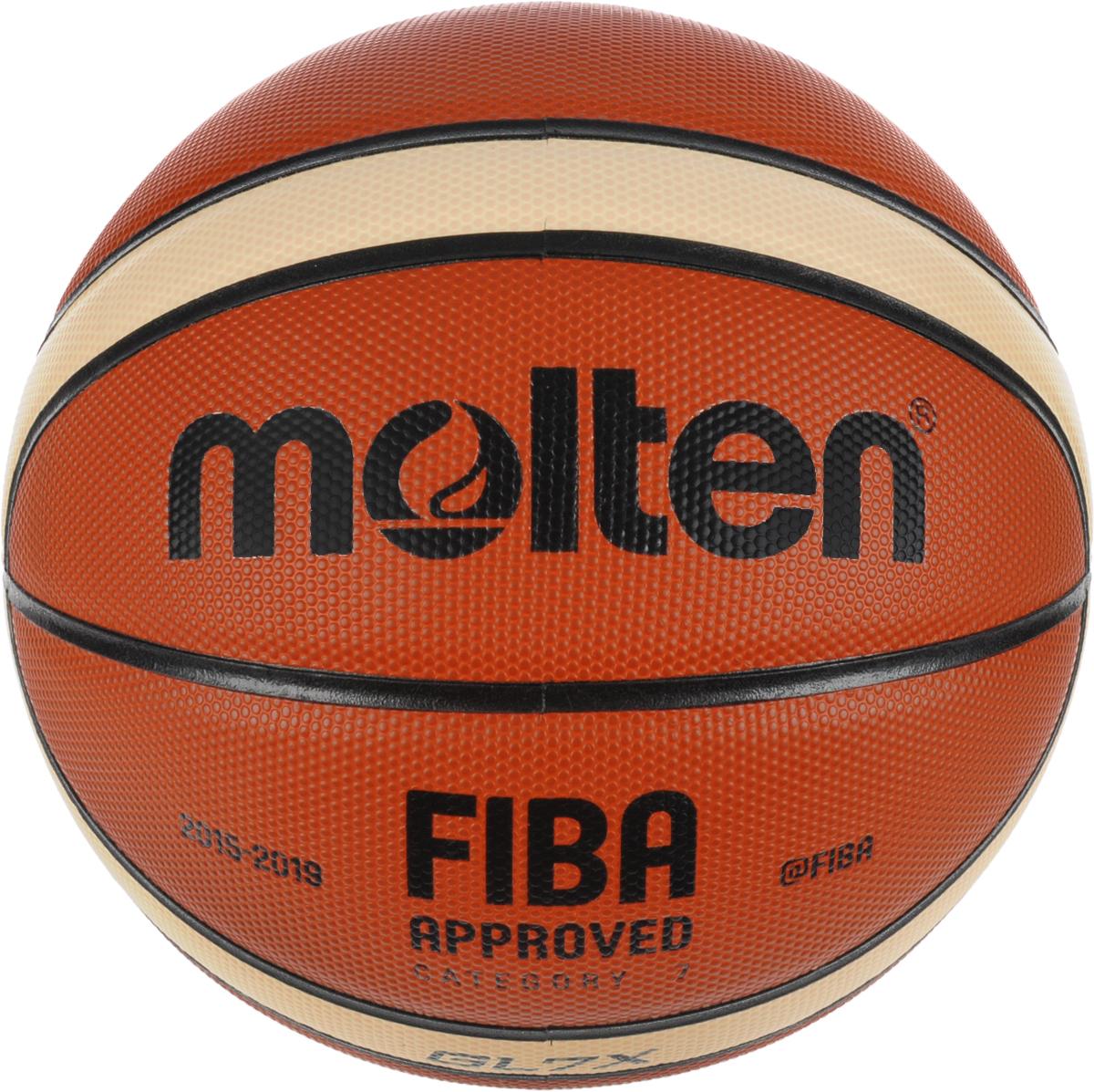 Мяч баскетбольный Molten. Размер 7. BGL7XBGL7XВсе новейшие технологии, применяемые при производстве баскетбольных мячей, нашли свое применение в превосходном мяче Molten. Шероховатая 12-панельная поверхность выполнена из натуральной кожи. Корд изготовлен из нейлона, камера бутиловая. Особенности мяча: Dual-Cushion: снижение отдачи в момент приема мяча при сохранении скорости отскока обычного мяча. Flat-Pebble Surface и Full-Flat seams (увеличенная площадь соприкосновения руки и мяча) обеспечивают отличный контроль над мячом в любых ситуациях. Одобрен FIBA. Официальный размер и вес.