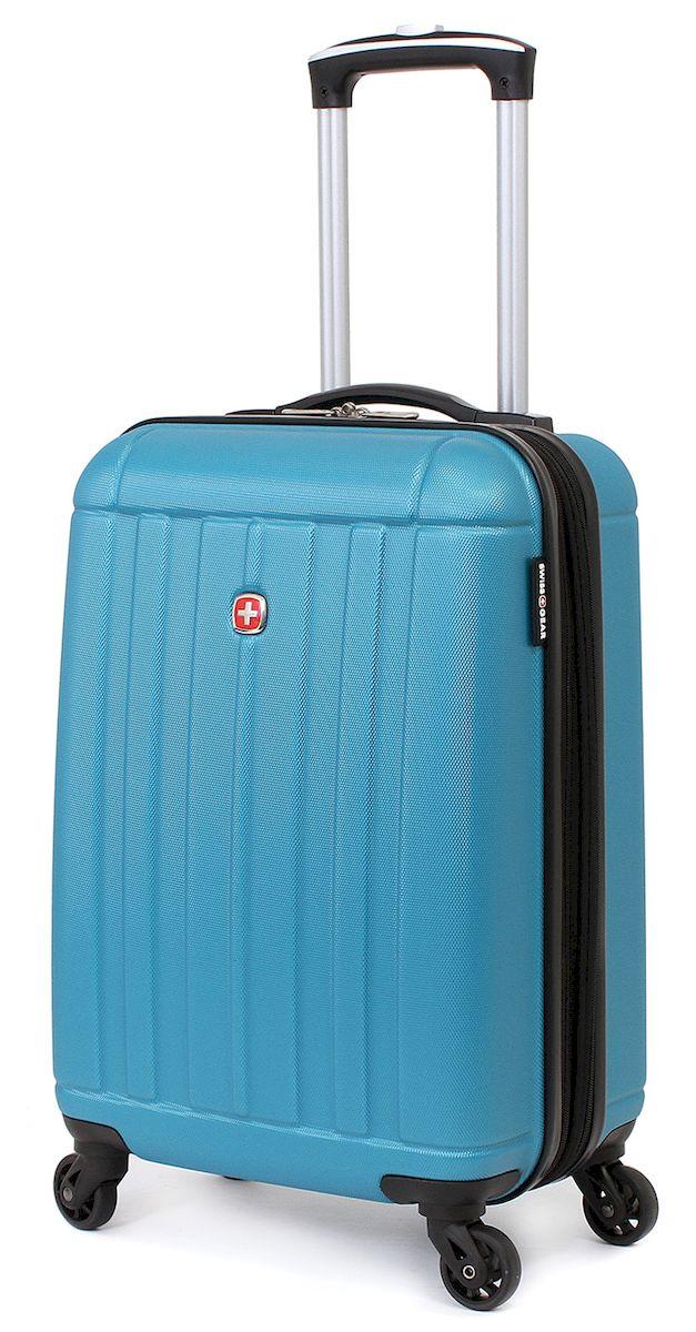 Чемодан SwissGear Uster, цвет: голубой, 37 л. 515466297343154Чемодан 6297343154 SwissGear Uster, голубой, АБС-пластик, 34x22x48 см, 37 л Дорожный чемодан USTER прекрасный выбор для путешественников! Чемоданы серии USTER сделаны из АБС-пластика, преимущества которого заключаются в высокой прочности при минимальном весе. Да, этот чемодан действительно легок и станет отличным компаньоном в дороге даже для хрупких, миниатюрных дам! Удобная телескопическая ручка, сделанная из авиационного алюминия, целых четыре маневренных колесика, вращающийся на 360 градусов, и наличие сразу двух ручек (сверху и сбоку) делают этот чемодан поистине эргономичным. Внутренняя эргономика также свидетельствует о благородном швейцарском происхождении. В основном пространстве имеется отделение, с закрывающейся на молнию сетчатой стенкой, а для небольших аксессуаров имеется съемный несессер. Надежно зафиксировать ваши вещи в чемодане помогут внутренние перекрестные ремни с удобным замком. Характеристики: Застежки молнии основного отделения чемодана...