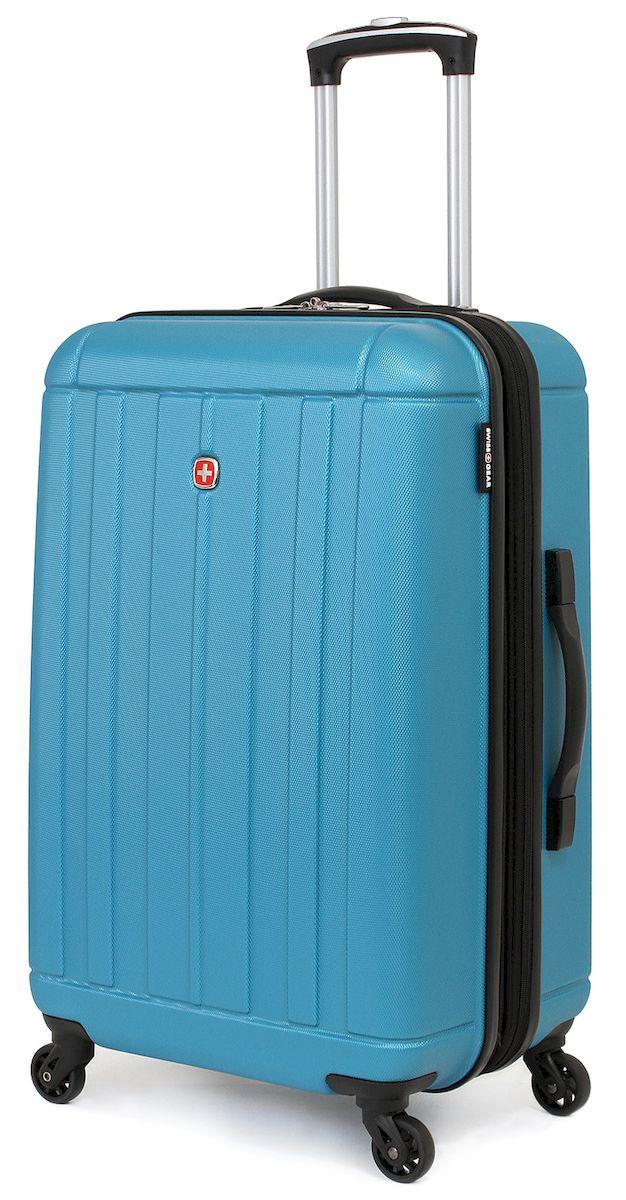 Чемодан SwissGear Uster, цвет: голубой, 62 л. 515476297343167Чемодан 6297343167 SwissGear Uster, голубой, АБС-пластик, 41x26x58 см, 62 л Дорожный чемодан USTER прекрасный выбор для путешественников! Чемоданы серии USTER сделаны из АБС-пластика, преимущества которого заключаются в высокой прочности при минимальном весе. Да, этот чемодан действительно легок и станет отличным компаньоном в дороге даже для хрупких, миниатюрных дам! Удобная телескопическая ручка, сделанная из авиационного алюминия, целых четыре маневренных колесика, вращающийся на 360 градусов, и наличие сразу двух ручек (сверху и сбоку) делают этот чемодан поистине эргономичным. Внутренняя эргономика также свидетельствует о благородном швейцарском происхождении. В основном пространстве имеется отделение, с закрывающейся на молнию сетчатой стенкой, а для небольших аксессуаров имеется съемный несессер. Надежно зафиксировать ваши вещи в чемодане помогут внутренние перекрестные ремни с удобным замком. Характеристики: Застежки молнии основного отделения чемодана...