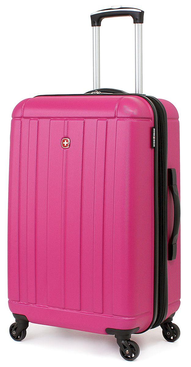 Чемодан SwissGear Uster, цвет: розовый, 62 л. 515456297808167Чемодан 6297808167 SwissGear Uster, розовый, АБС-пластик, 41x26x58 см, 62 л Дорожный чемодан USTER прекрасный выбор для путешественников! Чемоданы серии USTER сделаны из АБС-пластика, преимущества которого заключаются в высокой прочности при минимальном весе. Да, этот чемодан действительно легок и станет отличным компаньоном в дороге даже для хрупких, миниатюрных дам! Удобная телескопическая ручка, сделанная из авиационного алюминия, целых четыре маневренных колесика, вращающийся на 360 градусов, и наличие сразу двух ручек (сверху и сбоку) делают этот чемодан поистине эргономичным. Внутренняя эргономика также свидетельствует о благородном швейцарском происхождении. В основном пространстве имеется отделение, с закрывающейся на молнию сетчатой стенкой, а для небольших аксессуаров имеется съемный несессер. Надежно зафиксировать ваши вещи в чемодане помогут внутренние перекрестные ремни с удобным замком. Характеристики: Застежки молнии основного отделения чемодана...
