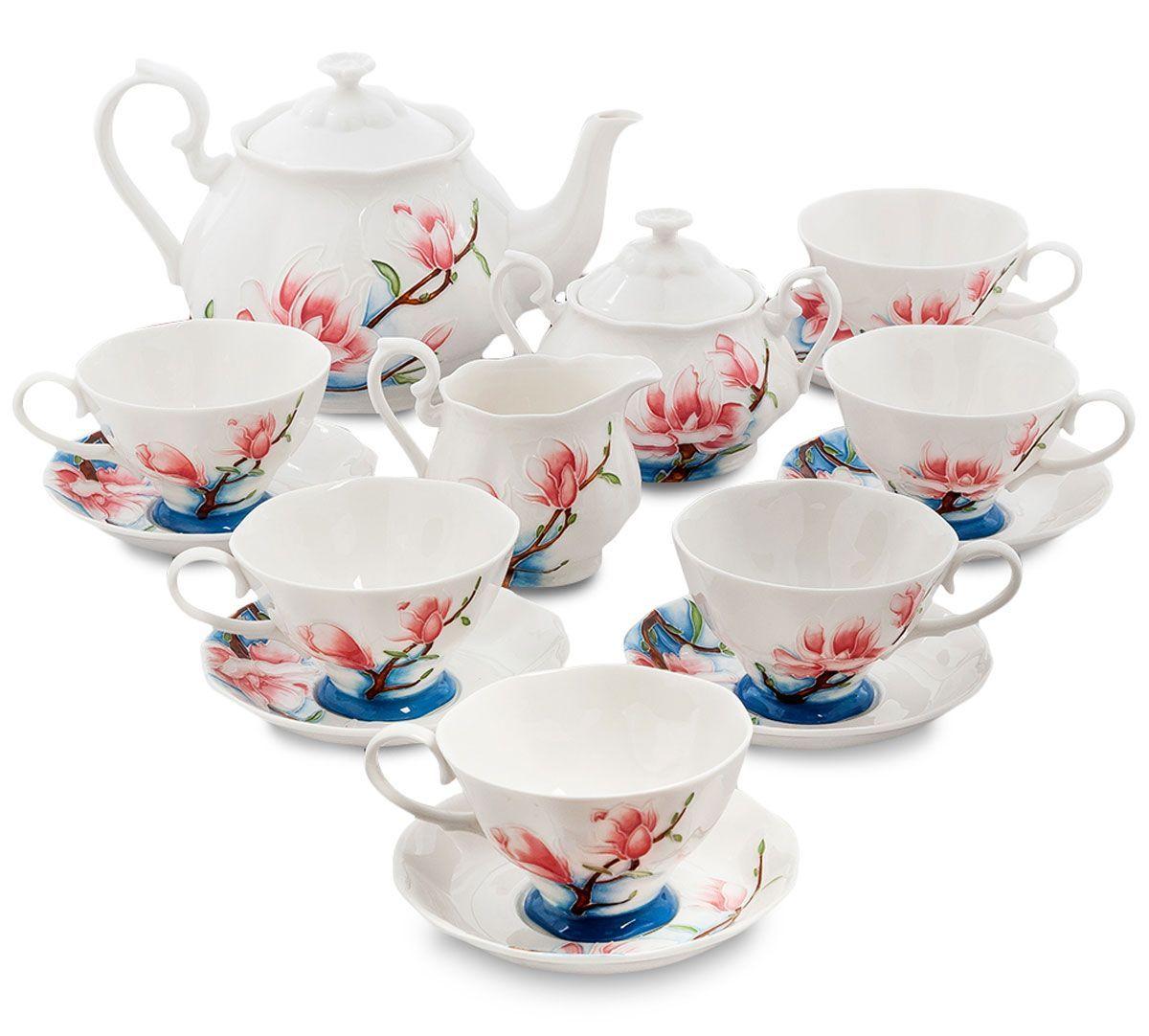 Сервиз чайный Pavone Цветущая сакура, 15 предметов. 451572451572Объем чайника: 1,25 л Объем сахарницы: 400 мл Объем молочника: 250 мл Объем чашки: 200 мл Диаметр блюдца: 14 см.