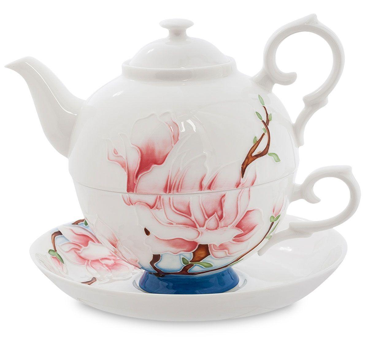 Набор чайный Pavone Цветущая сакура, 3 предмета. 451575451575Объем чайника: 400 мл Объем чаши: 250 мл Диаметр блюдца: 15 см