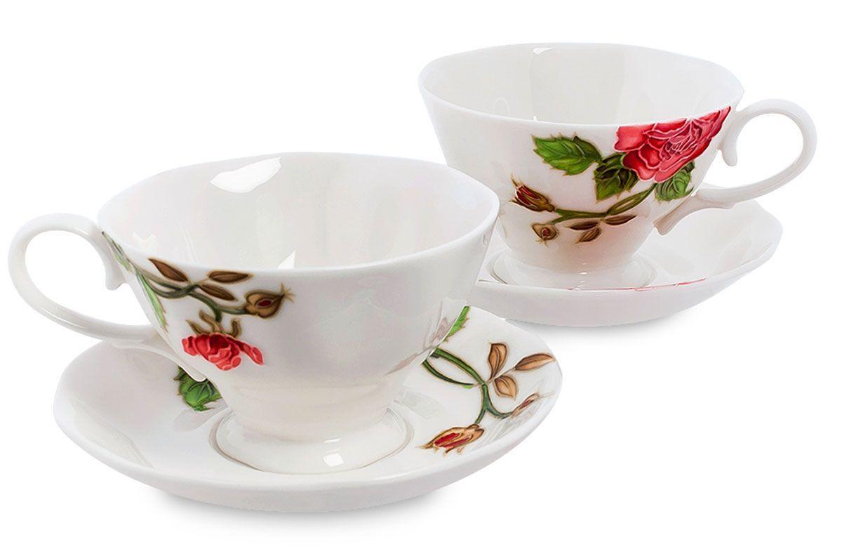 Набор чайный Pavone Рафаэлло. Роза, 4 предмета. 451579451579Объем чашки: 200 мл Диаметр блюдца: 14 см.