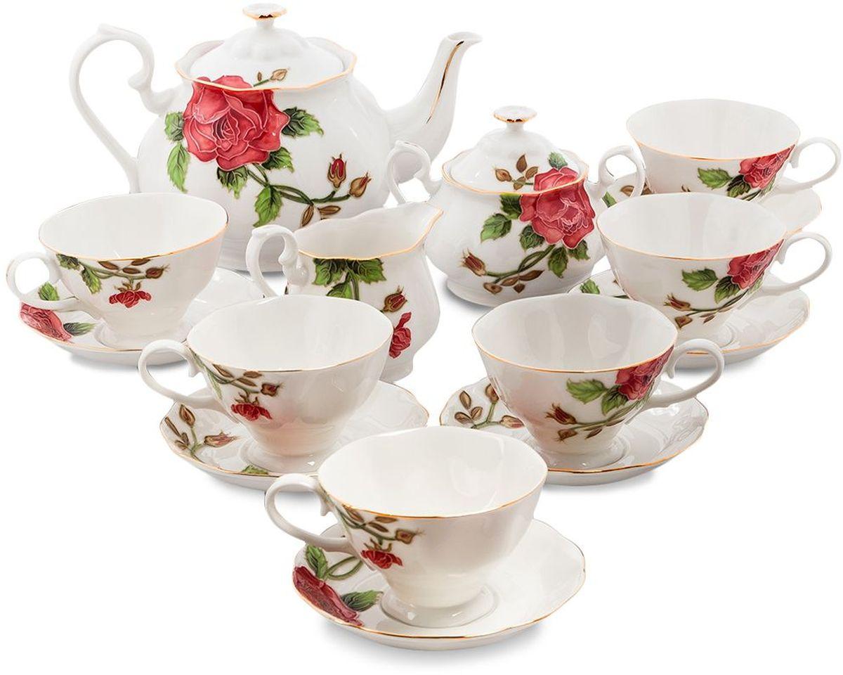 Сервиз чайный Pavone Золотая Роза, 15 предметов. 451584451584Объем чайника: 1,25 л Объем сахарницы: 400 мл Объем молочника: 250 мл Объем чашки: 200 мл Диаметр блюдца: 14 см.