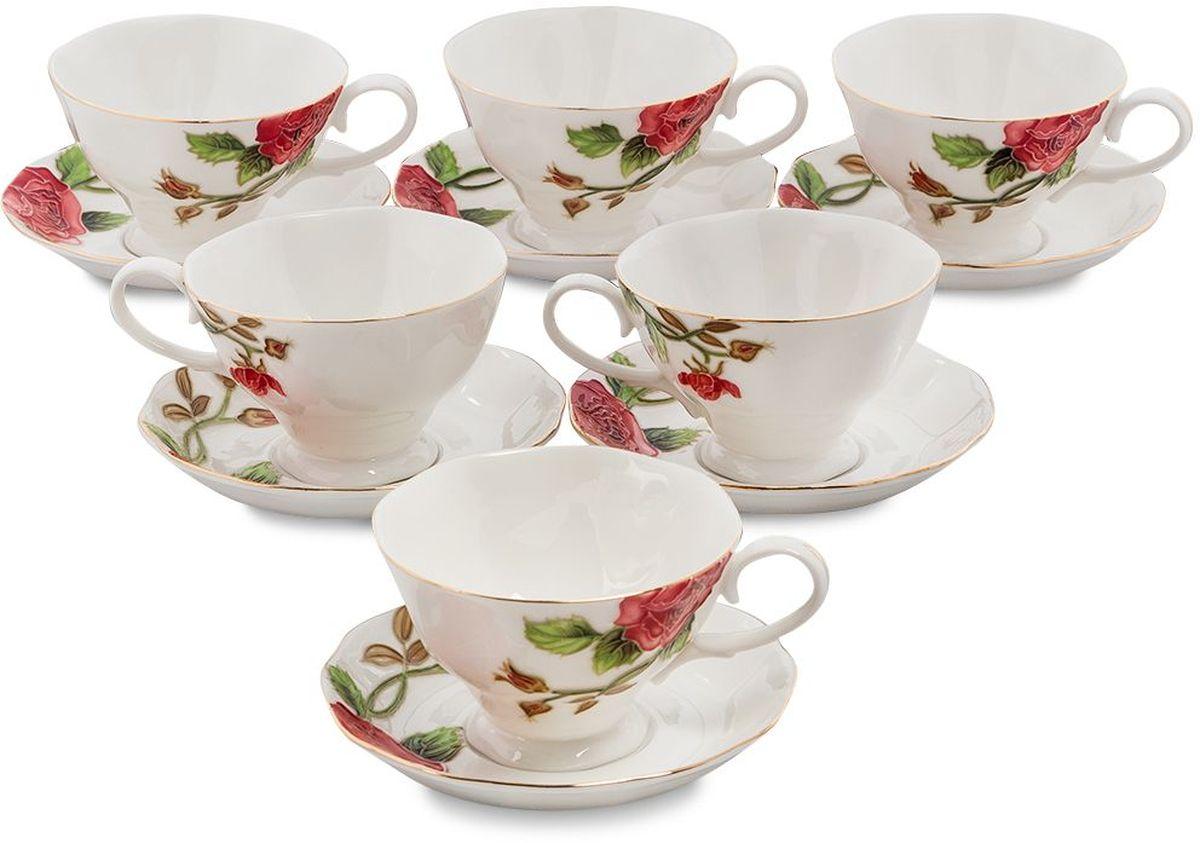 Набор чайный Pavone Золотая Роза, 6 предметов. 451586451586Объем чашки: 200 мл Диаметр блюдца: 14 см.