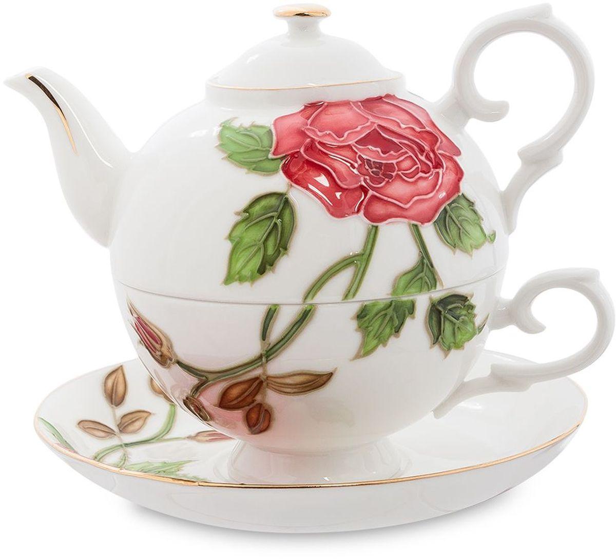 Набор чайный Pavone Золотая Роза, 3 предмета. 451587451587Объем чайника: 400 мл Объем чаши: 250 мл Диаметр блюдца: 15 см