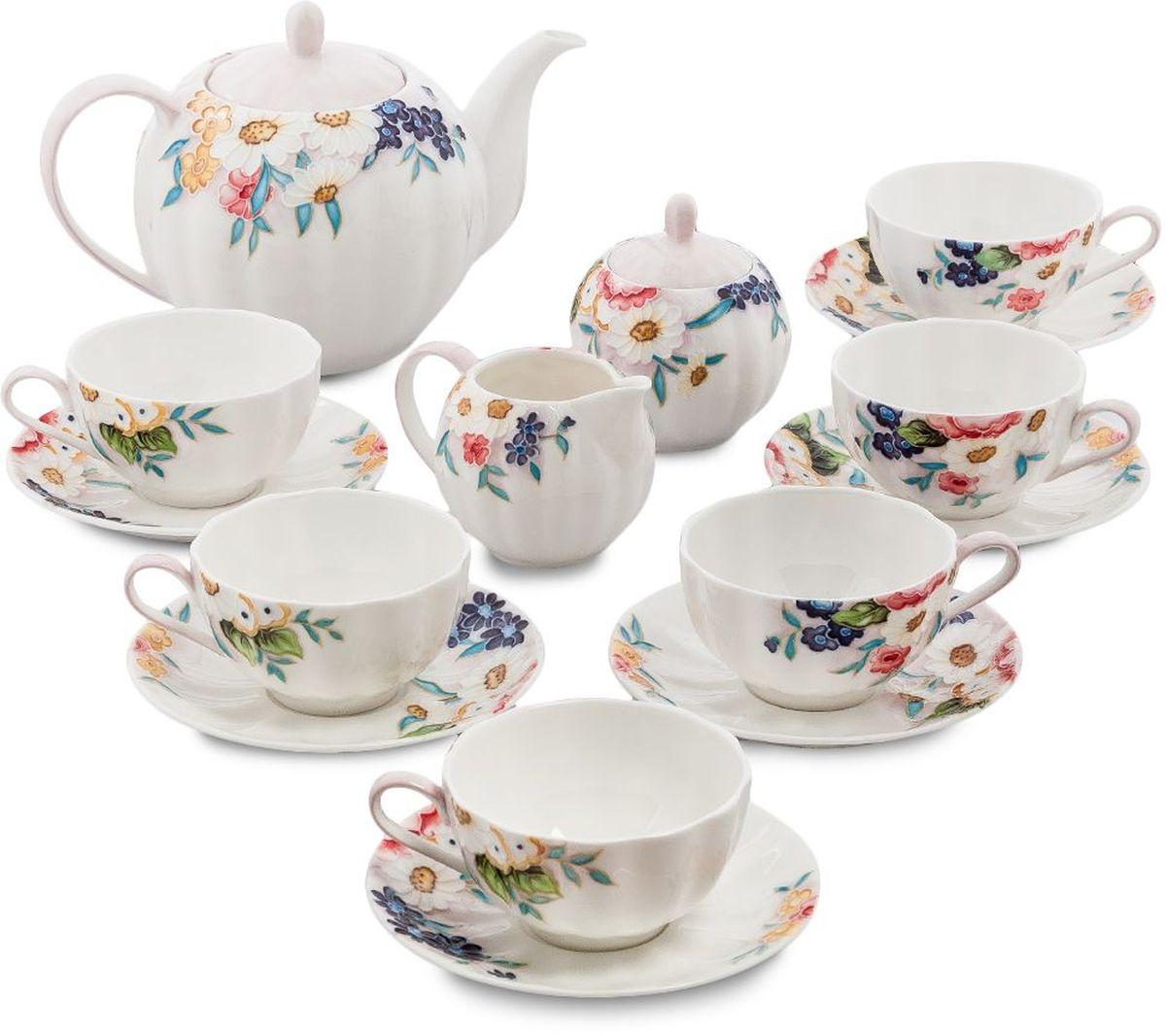 Сервиз чайный Pavone Королева Камилла, 15 предметов. 451589451589Объем чайника: 1 л Объем сахарницы: 200 мл Объем молочника: 200 мл Объем чашки: 150 мл Диаметр блюдца: 14 см.