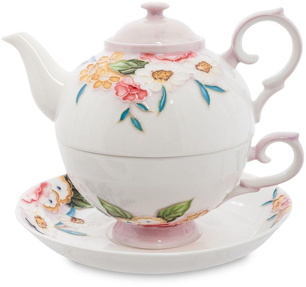 Набор чайный Pavone Королева Камилла, 3 предмета. 451592451592Объем чайника: 400 мл Объем чаши: 250 мл Диаметр блюдца: 15 см