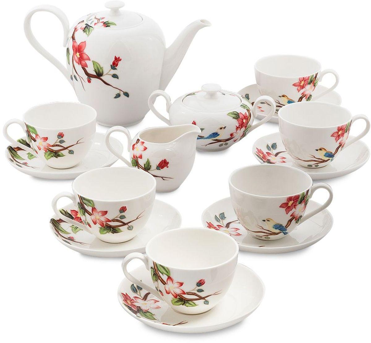 Сервиз чайный Pavone Райская птица, 15 предметов. 451595451595Объем чайника: 1,4 л Объем сахарницы: 350 мл Объем молочника: 200 мл Объем чашки: 250 мл Диаметр блюдца: 15 см.