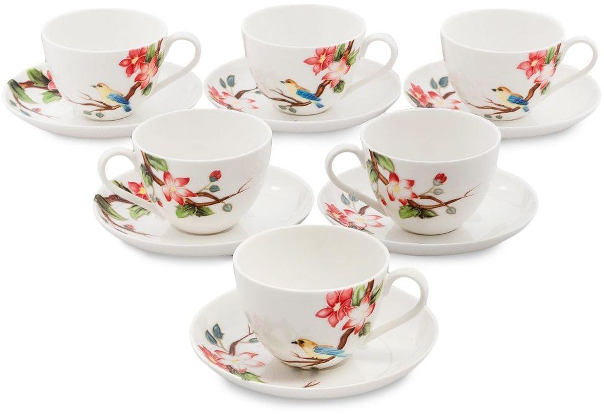 Набор чайный Pavone Райская птица, 6 предметов. 451597451597Объем чашки: 250 мл Диаметр блюдца: 15 см.