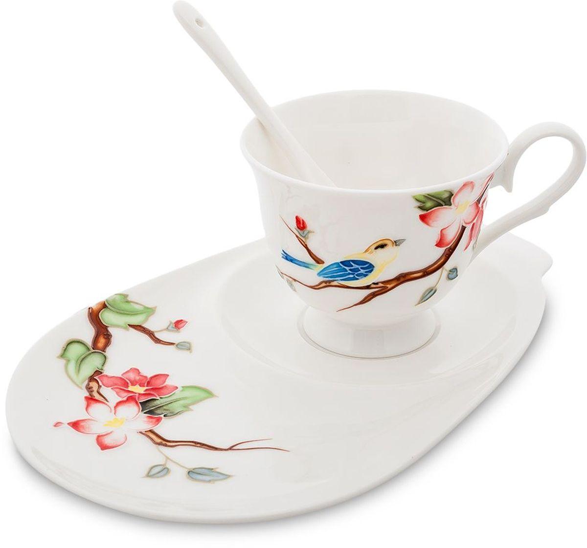 Чайная пара Pavone Райская птица, 3 предмета. 451600451600Объем чашки: 250 мл Длина блюдца: 23 см
