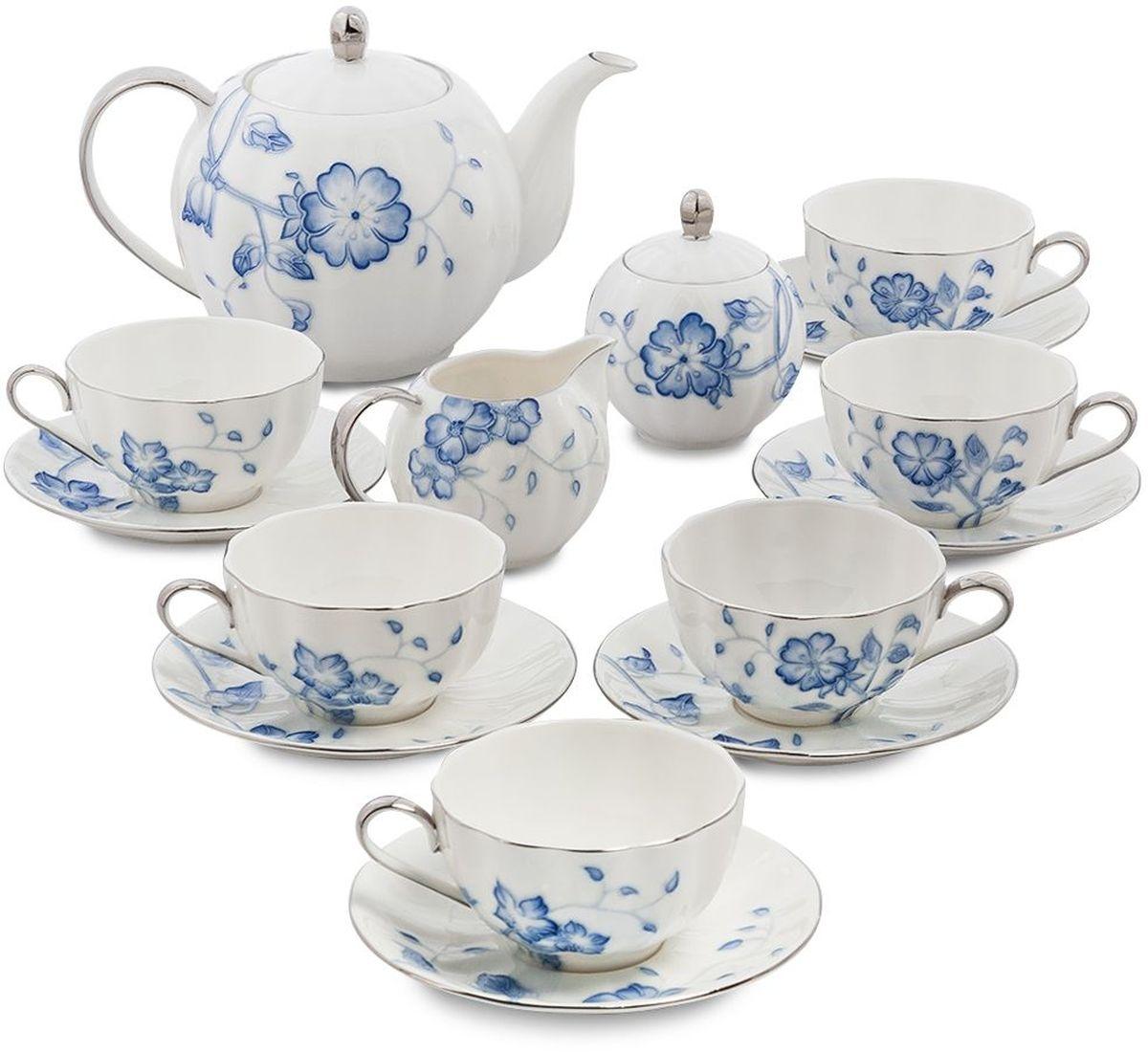 Сервиз чайный Pavone Голубая бабочка, 15 предметов. 451601451601Объем чайника: 1 л Объем сахарницы: 200 мл Объем молочника: 200 мл Объем чашки: 200 мл Диаметр блюдца: 14 см.