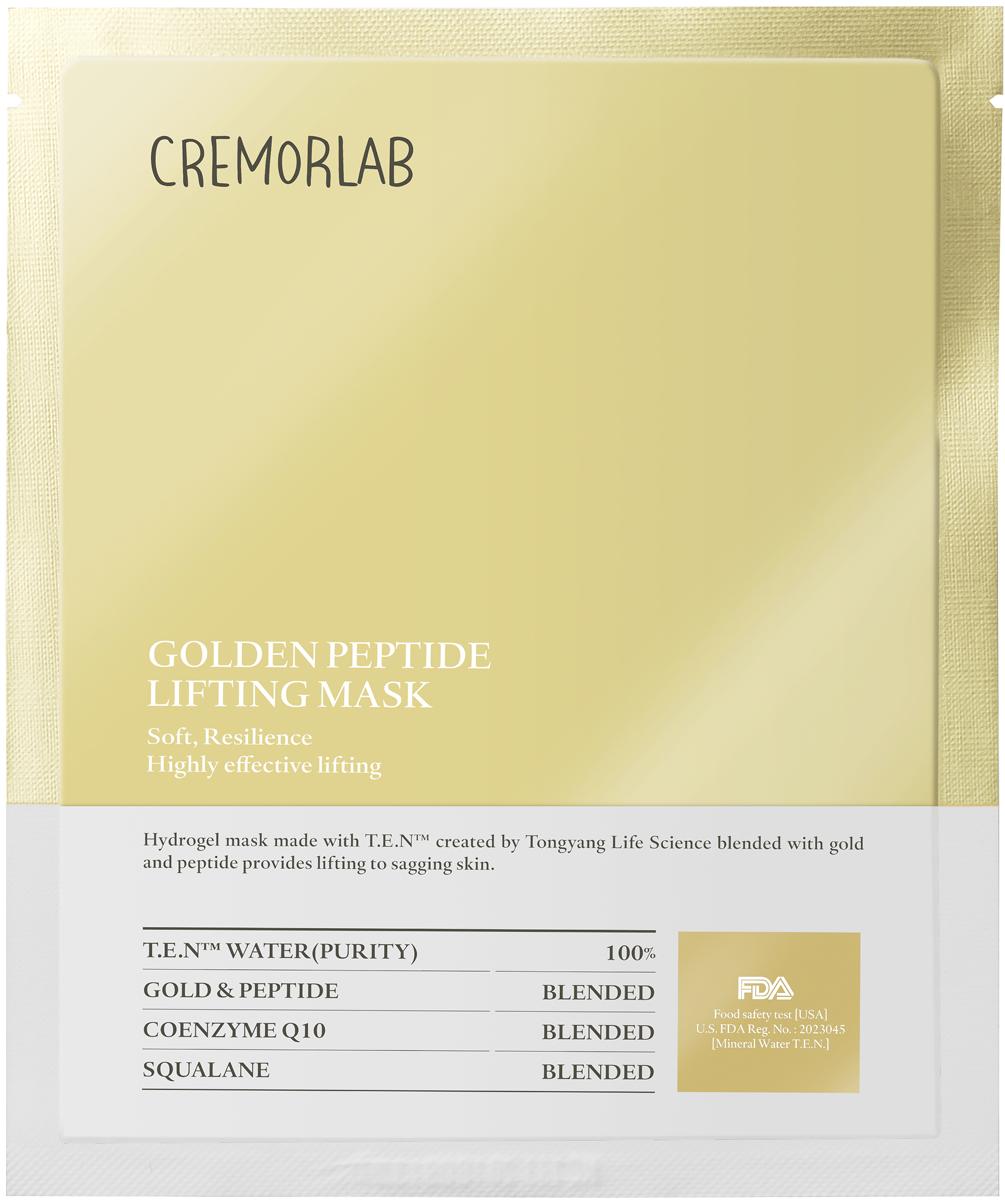 Cremorlab Gold Peptide Lifting Mask Лифтинг маска с золотом и пептидами 1 шт.61454Гидрогелевая маска класса премиум способствует восстановлению эластичности кожи и обладает выраженным лифтинг-эффектом. Уникальный ингредиентный комплекс, состоящий из термальной воды, пептидных белков, биологически активного золота, фитосквалана и коэнзима Q10, способствует проникновению активных веществ маски в глубокие слои кожи, пролонгированному увлажнению. Защищает от негативного воздействия окружающей среды и чрезмерного испарения влаги. Питает, стимулирует выработку коллагена, уменьшает глубину морщин, повышает иммунитет, улучшает упругость и тургор, положительно влияет на функциональное состояние кожи, возвращает жизненную энергию уставшей и блеклой коже. Не содержит парабенов, бензофенона, минеральных масел и искусственных красителей. Подходит для всех типов и состояний кожи.