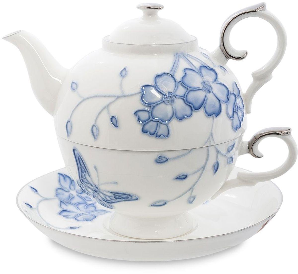 Набор чайный Pavone Голубая бабочка, 3 предмета. 451604451604Объем чайника: 400 мл Объем чаши: 250 мл Диаметр блюдца: 15 см