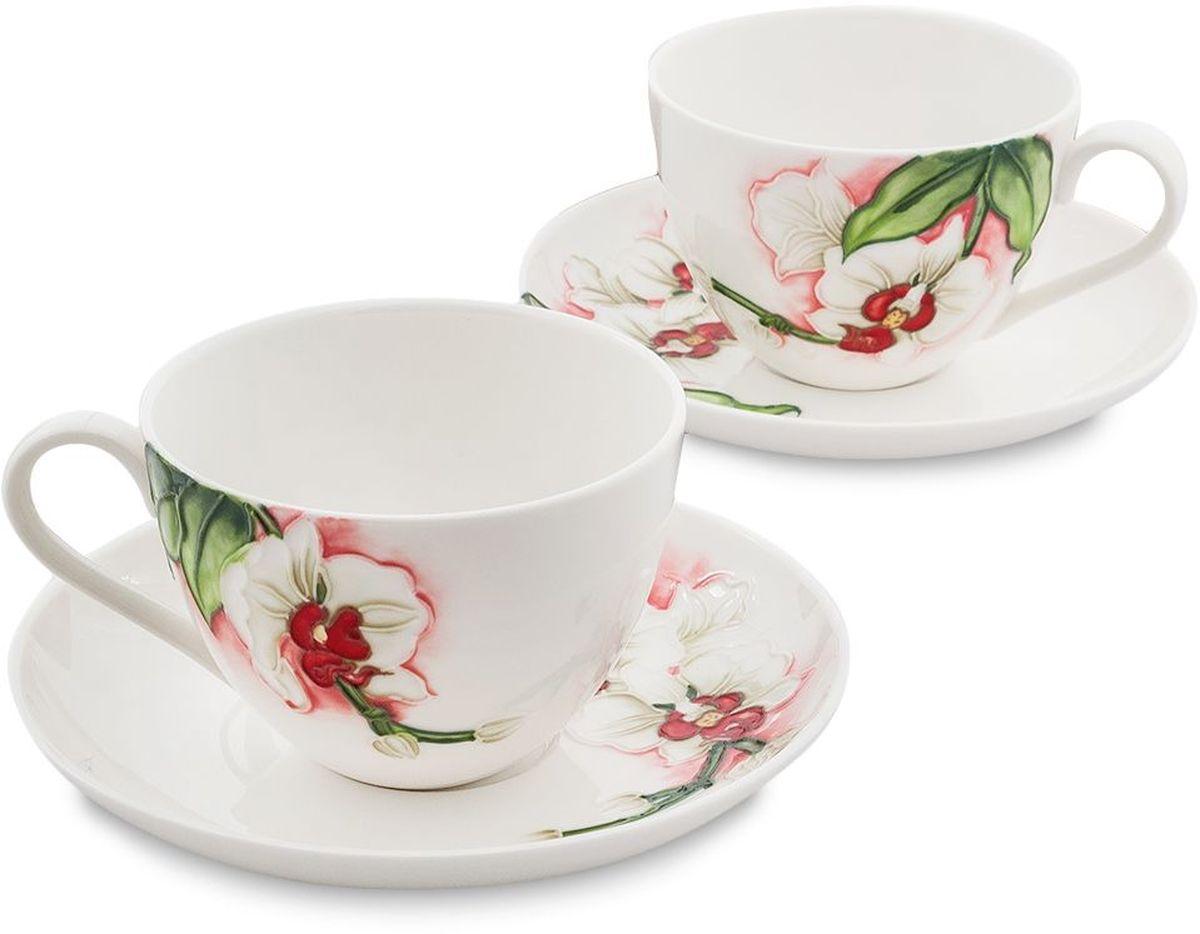 Набор чайный Pavone Королевская орхидея, 4 предмета. 451608451608Объем чашки: 200 мл Диаметр блюдца: 15 см.
