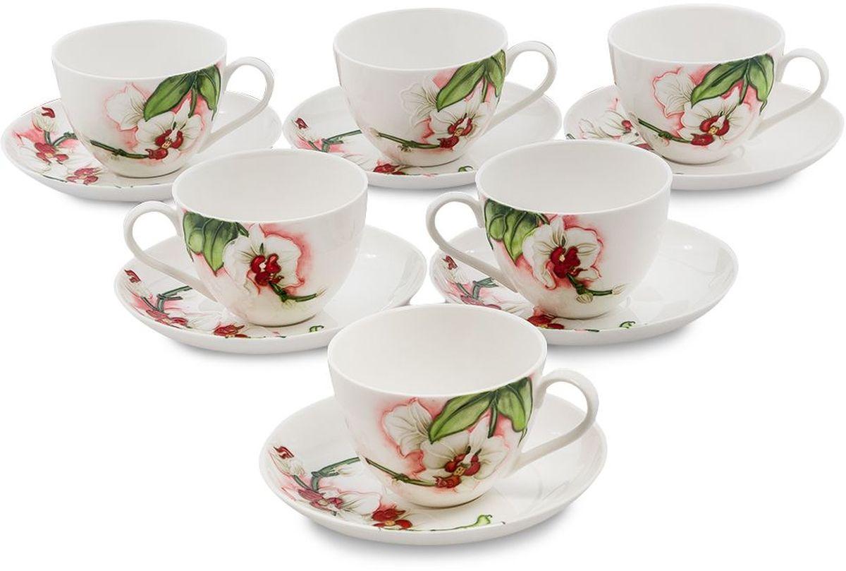 Набор чайный Pavone Королевская орхидея, 6 предметов. 451609451609Объем чашки: 200 мл Диаметр блюдца: 15 см.