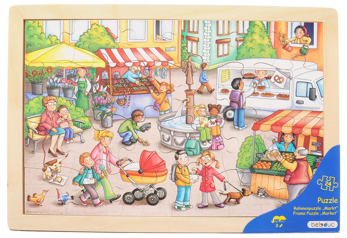 Beleduc Пазл для малышей Рынок12002Пазл для малышей Beleduc Рынок - прекрасная развивающая игрушка для детей. Красочный пазл в деревянной рамке с хорошо знакомыми ситуациями из повседневной жизни детей. Пазл развивает мышление, логику, моторику, цвета, воображение, когнитивные и коммуникативные навыки. Пазл с рамкой включает 24 элемента. Пазл изготовлен из высококачественного дерева, покрыт безопасными красками.