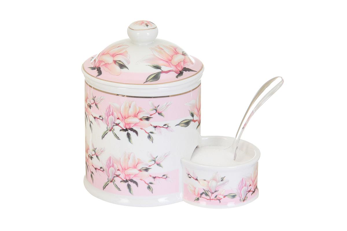 Банка для соли Elan Gallery Орхидея на розовом, с ложкой, 600 мл503760Банка для соли с ложкой великолепная идея для подарка, которому обрадуется любая хозяйка, заботящаяся о домашнем уюте и комфорте! Банка отличается оригинальным дизайном и функциональностью. Объем 600 мл.