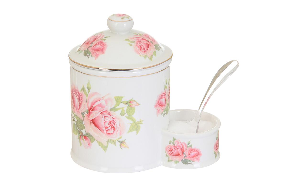 Банка для соли Elan Gallery Розовая фантазия, с ложкой, 600 мл503772Банка для соли с ложкой великолепная идея для подарка, которому обрадуется любая хозяйка, заботящаяся о домашнем уюте и комфорте! Банка отличается оригинальным дизайном и функциональностью. Высота банки: 16 см.