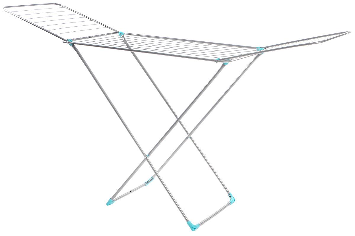 Сушилка для белья Nika, напольная, цвет: темно-серый, 197 х 95 х 54 смСБ2Напольная сушилка для белья Nika проста и удобна в использовании, компактно складывается, экономя место в вашей квартире. Сушилку можно использовать на балконе или дома. Сушилка оснащена складными створками для сушки одежды во всю длину, а также имеет специальные пластиковые крепления в основе стоек, которые не царапают пол. Размер сушилки в разложенном виде: 197 х 95 х 54 см. Размер сушилки в сложенном виде: 130 х 54 х 3 см. Длина сушильного полотна: 20 м.