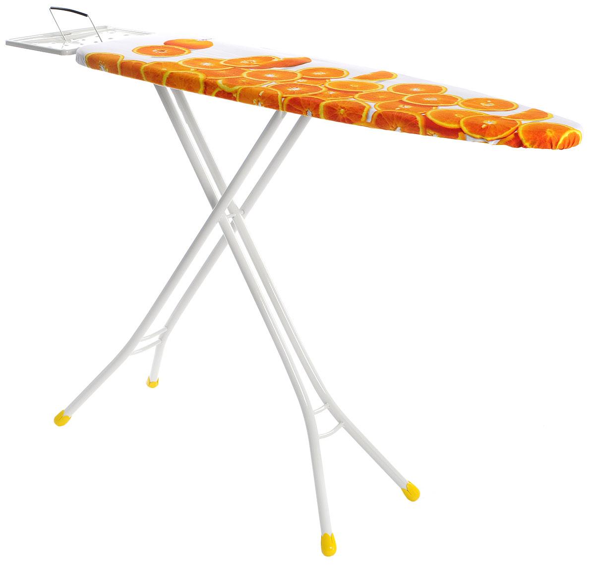 Доска гладильная Gimi Classic. Апельсины, 110 х 33 см14100350_оранжевый, белыйСкладная гладильная доска Gimi Classic. Апельсины - необходимая вещь для каждой хозяйки. Благодаря такой удобной доске процесс глажки будет комфортным и качественным. Корпус выполнен из высококачественной стали и обтянут чехлом из прочного хлопка. Большая поверхность позволит вам без труда гладить не только рубашки, мужские брюки, но и постельное белье. Прочные стальные окрашенные ножки снабжены пластиковыми вставками, которые предотвращают скольжение, что создает удобные условия для глажки, а также препятствуют образованию царапин на полу. Также изделие оснащено подставкой для утюга. Доска легко складывается и не занимает много места в сложенном состоянии. Такая гладильная доска сочетает в себе качество, удобство, легкость и практичность. Размер гладильной поверхности: 110 x 33 см. Максимальная высота: 90 см. Размер подставки для утюга: 29 x 22 см. Размер гладильной доски в сложенном виде: 143 х 34 х 5 см....