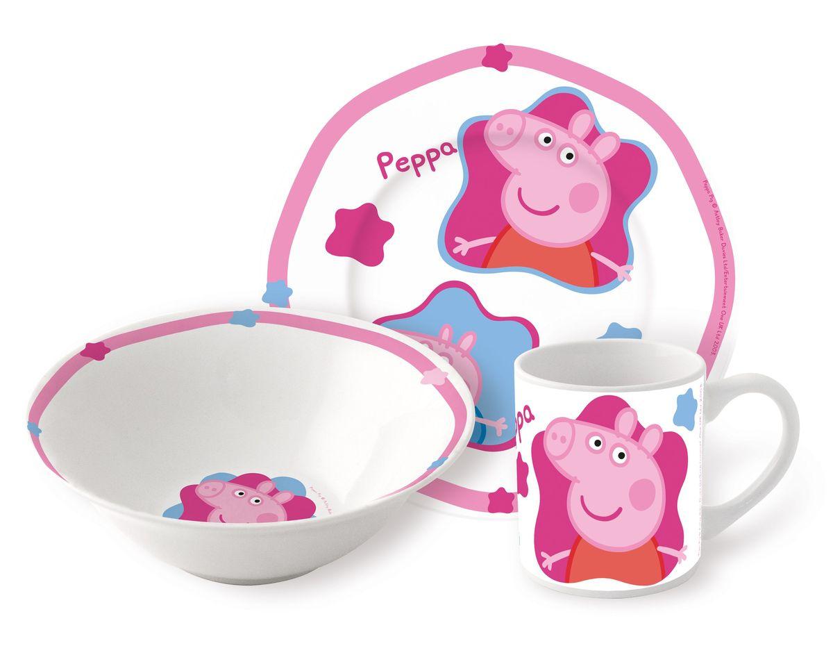 Stor Набор детской посуды Свинка Пеппа 3 предмета72765Оригинальная керамическая посуда с изображением любимых героев – прекрасный подарок для детей и взрослых.