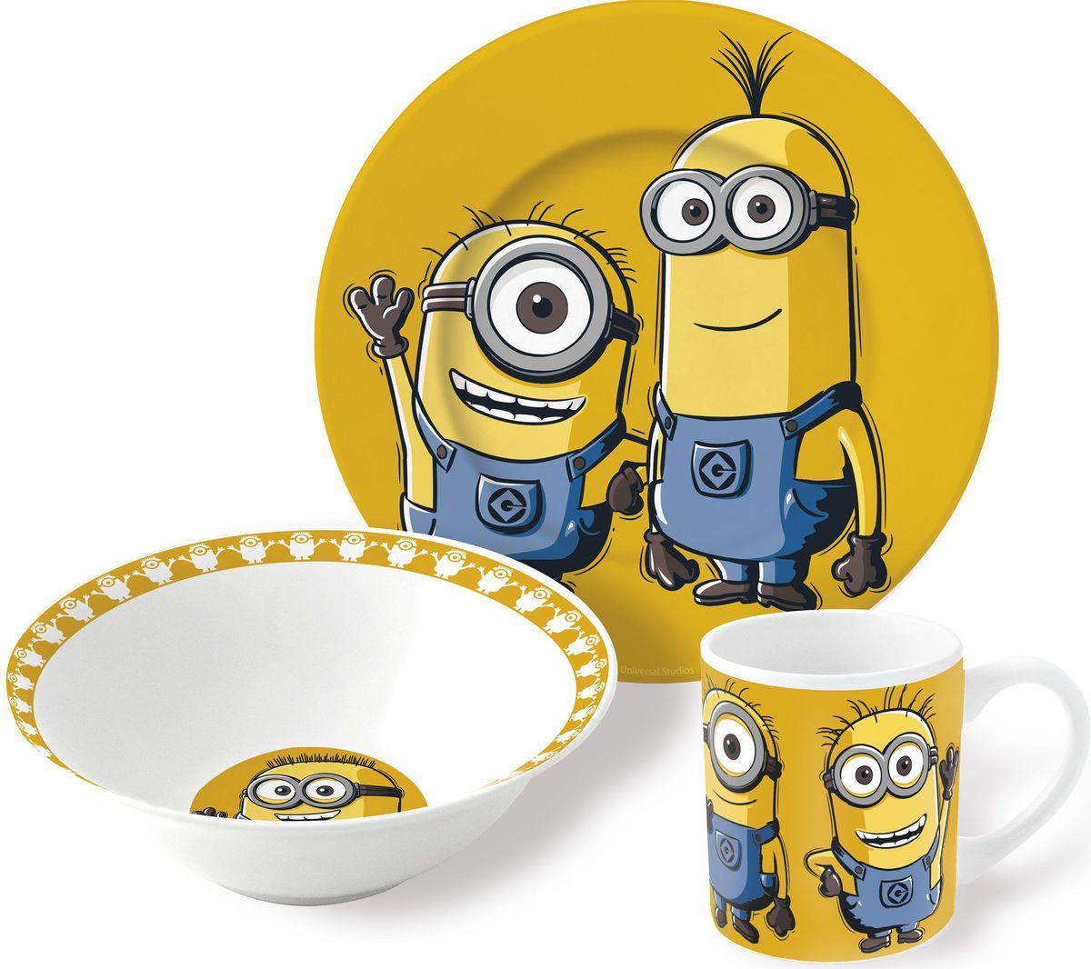 Stor Набор детской посуды Миньоны 3 предмета77055Оригинальная керамическая посуда с изображением любимых героев – прекрасный подарок для детей и взрослых.