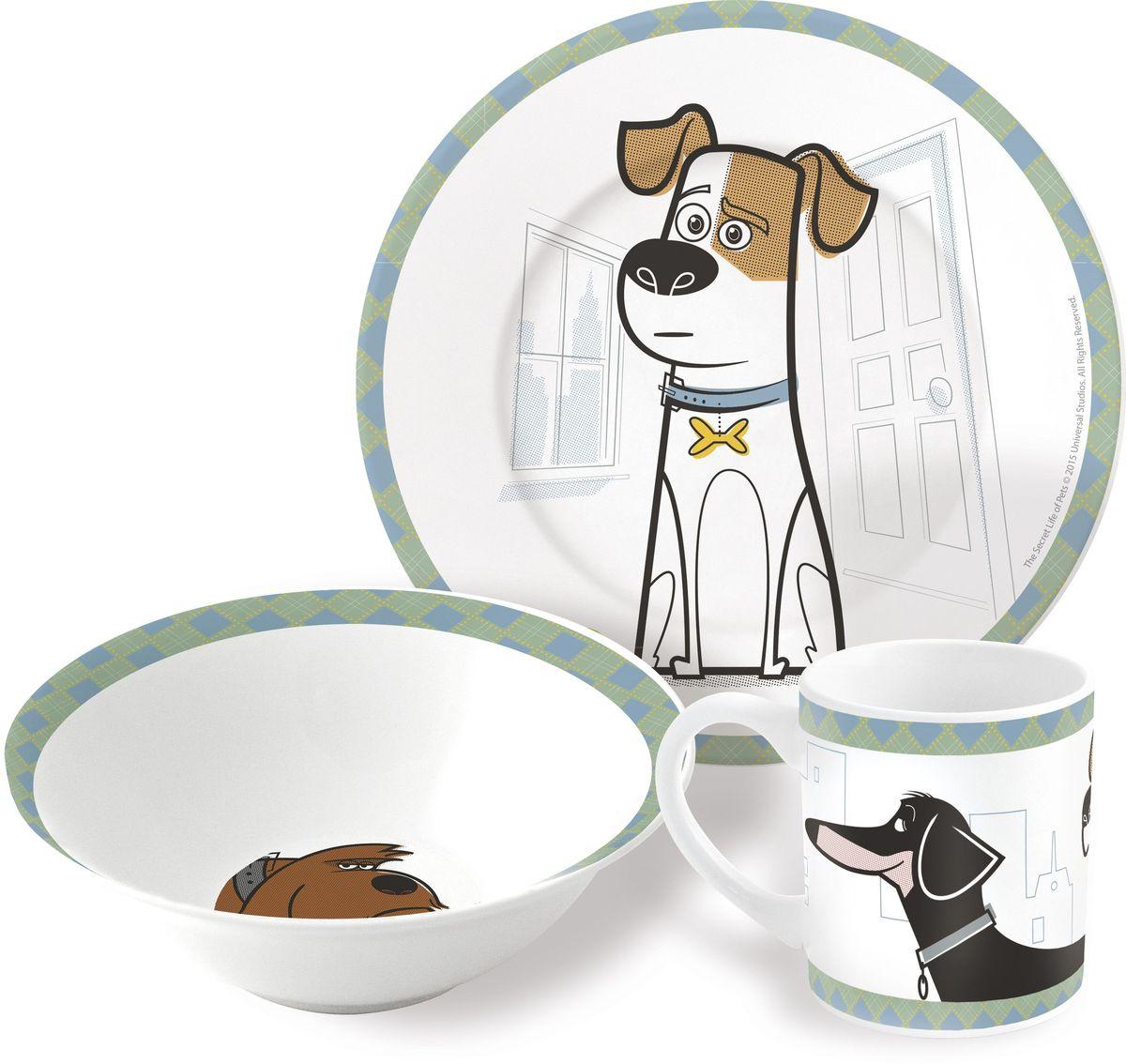 Stor Набор детской посуды Тайная жизнь домашних животных 3 предмета46765Оригинальная керамическая посуда с изображением любимых героев – прекрасный подарок для детей и взрослых.