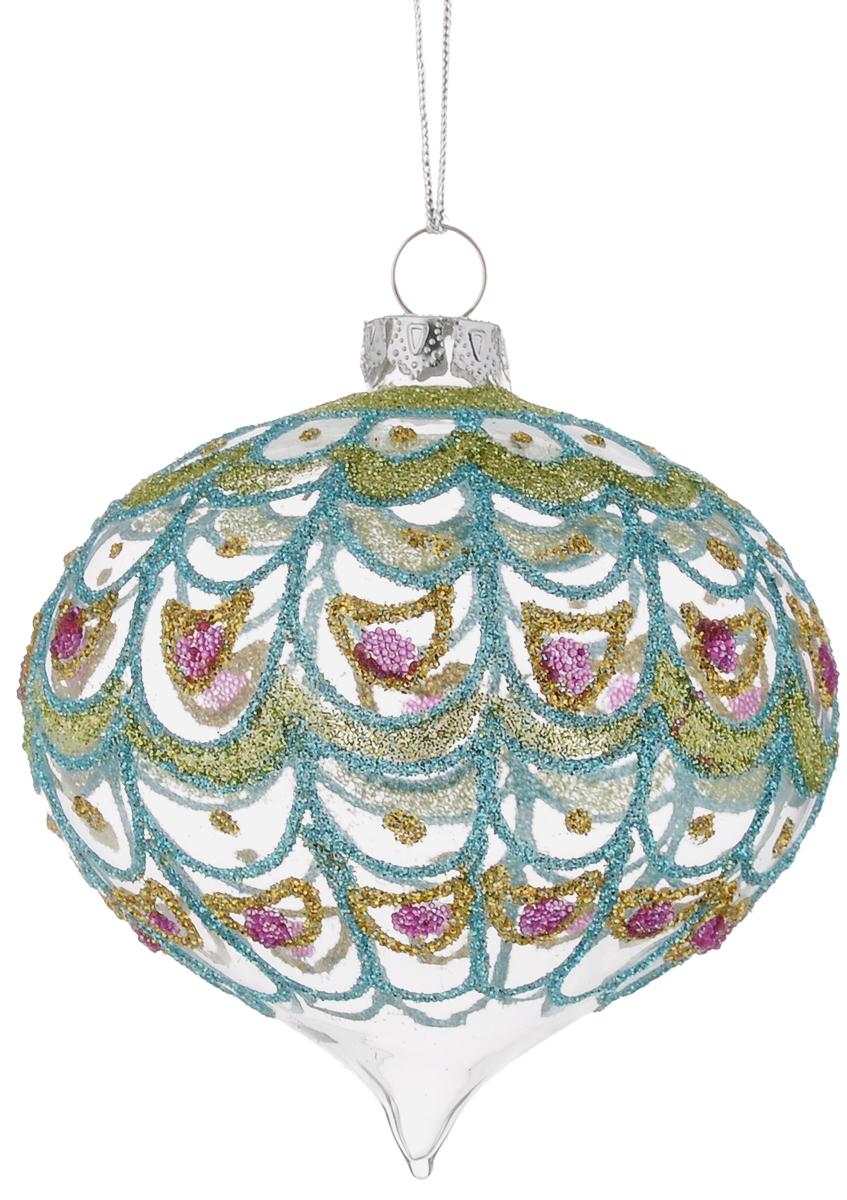 Украшение новогоднее подвесное Winter Wings Луковица. Павлин, длина 8 смN07668_вид 2Новогоднее подвесное украшение Winter Wings Луковица. Павлин выполнено из стекла в виде шара с узорами. С помощью специальной петельки украшение можно повесить в любом понравившемся вам месте. Но, конечно, удачнее всего оно будет смотреться на праздничной елке. Елочная игрушка - символ Нового года. Она несет в себе волшебство и красоту праздника. Создайте в своем доме атмосферу веселья и радости, украшая новогоднюю елку нарядными игрушками, которые будут из года в год накапливать теплоту воспоминаний.