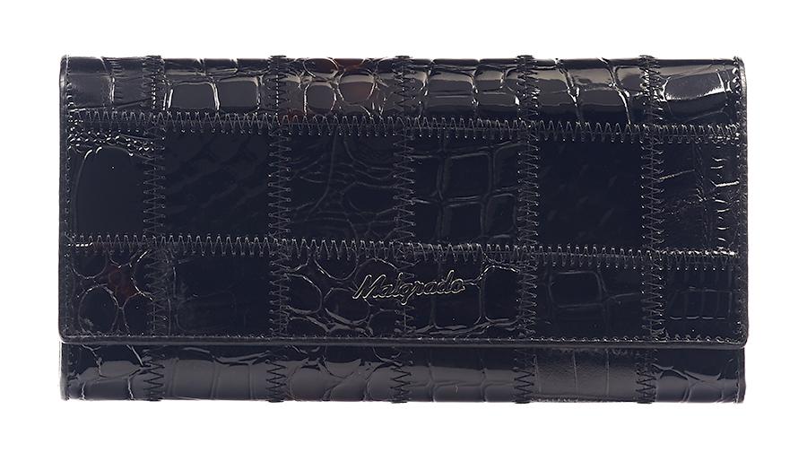 Кошелек женский Malgrado, цвет: черный. 72032-3A-239A72032-3A-239A BlackСтильный кошелек Malgrado изготовлен из натуральной кожи черного цвета с декоративным комбинированным тиснением и вмещает в себя купюры в развернутом виде в полную длину. Внутри содержит четыре отделения для купюр, одно из которых на молнии, четыре кармашка для дисконтных карт, визиток, кредиток, один прозрачный кармашек, в который можно положить пропуск, проездной документ или фотографию, отделение для мелочи, закрывающиеся на металлический замок и дополнительный потайной карман. Закрывается кошелек клапаном на кнопку. Кошелек упакован в подарочную металлическую коробку с логотипом фирмы. Такой кошелек станет замечательным подарком человеку, ценящему качественные и практичные вещи. Характеристики: Материал: натуральная кожа, текстиль, металл. Размер кошелька: 18,5 см х 9 см х 3 см. Цвет: черный. Размер упаковки: 23 см х 13 см х 4,5 см. Артикул: 72032-3A-239A Black.