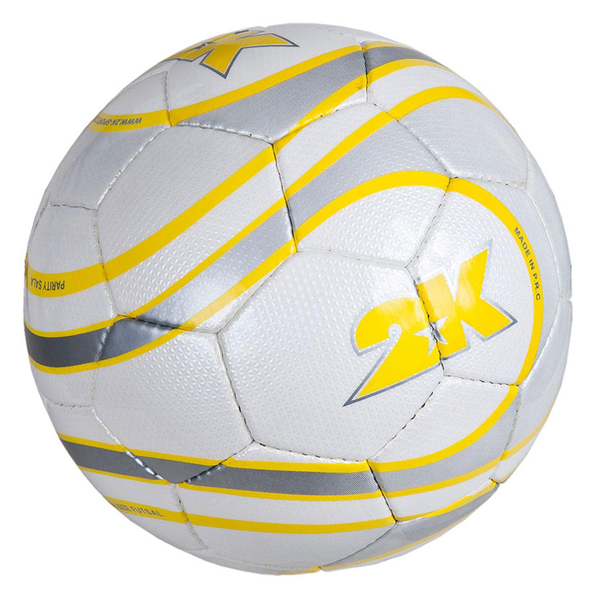 Мяч футзальный 2K Sport Parity, цвет: белый, желтый, серый. Размер 4127079Профессиональный футзальный мяч 2K Sport Parity предназначен для игры в зале. Выполнен из полиуретана. Четырехслойная подложка, изготовленная из полиэстера. Мяч имеет бесшовную бутиловую камеру с бутиловым ниппелем. Ручная сшивка панелей.