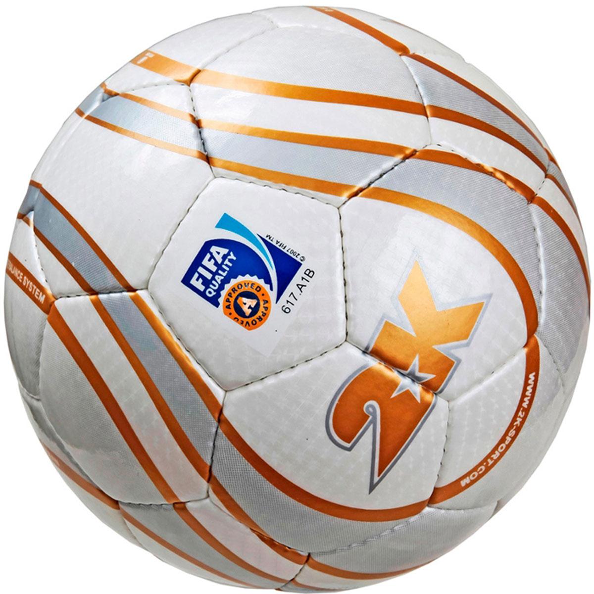 Мяч футзальный 2K Sport Parity, цвет: белый, золотистый, серый. Размер 4127077FПрофессиональный футзальный мяч 2K Sport Parity предназначен для игры в зале. Выполнен из полиуретана. Четырехслойная подложка, изготовленная из полиэстера. Мяч имеет бесшовную бутиловую камеру с бутиловым ниппелем. Ручная сшивка панелей. Сертификат FIFA Approved.