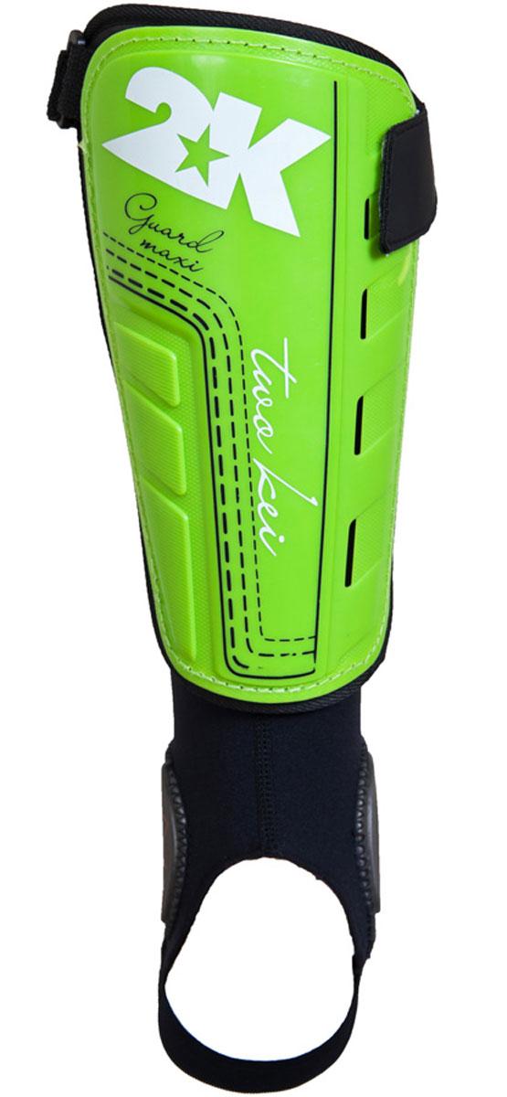 Щитки футбольные 2K Sport Guard Maxi, цвет: светло-зеленый, черный, белый. Размер S127325Футбольные щитки профессионального уровня 2K Sport Guard Maxi оснащены манжетой с специальными накладками для защиты голеностопа. Манжет крепится к основной части на липучке, таким образом вы можете использовать щиток и без него. Верх выполнен из высококачественного полипропилена. Щитки оснащены прочной передней панелью. Двухслойная текстильная подкладка с перфорациями обеспечивает лучшую вентиляцию. В верхней части щитка имеется затяжной ремешок для фиксации на ноге.