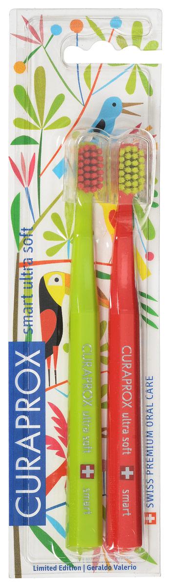 Curaprox CS smart/2 Duo Jungle Набор детских зубных щеток Curaprox CS smart ultra soft (2 шт.) цвет:салатовый, красный
