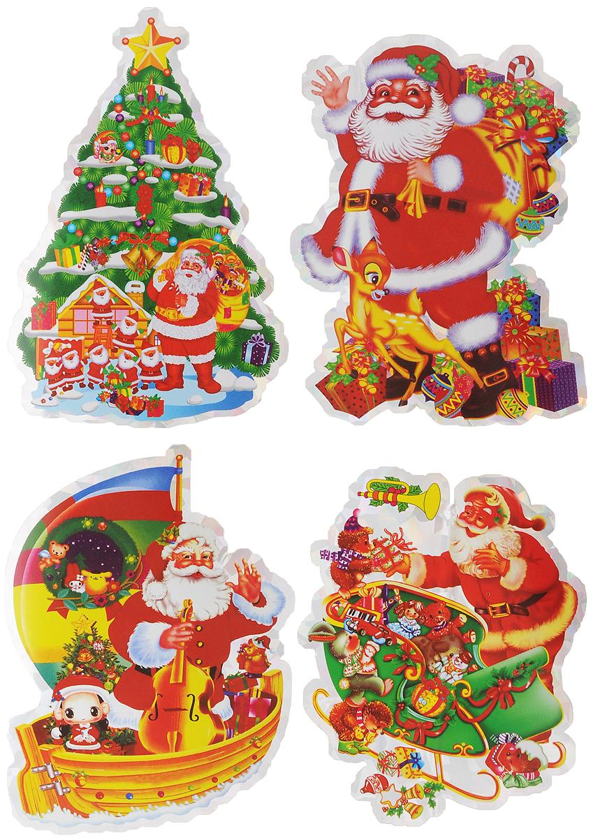Украшение новогоднее оконное Winter Wings Дед Мороз, 4 штN09090_подаркиНовогоднее оконное украшение Winter Wings Дед Мороз поможет украсить дом к предстоящим праздникам. Наклейки изготовлены из ПВХ. С помощью этих украшений вы сможете оживить интерьер по своему вкусу, наклеить их на окно, на зеркало или на дверь. Новогодние украшения всегда несут в себе волшебство и красоту праздника. Создайте в своем доме атмосферу тепла, веселья и радости, украшая его всей семьей. Размер листа: 24,5 х 17,5 см. Количество наклеек на листе: 4 шт. Средний размер наклейки: 11 х 8 см.