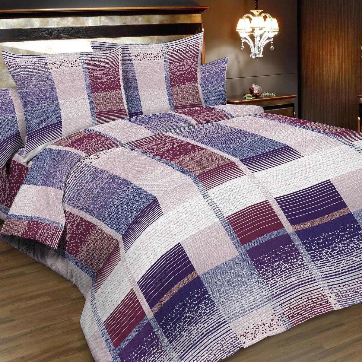 Комплект белья Letto, 2-спальный, наволочки 70х70, цвет: белый, синий, сиреневый. B160-4B160-4Комплект белья Letto состоит из пододеяльника на молнии, простыни и двух наволочек, декорированных принтом в клетку. Белье выполнено из классической российской бязи. Ткань плотная, меньше сминается, изготовлена с использованием современных устойчивых красителей. Традиционная российская бязь выгодно отличается от импортных аналогов по цене, при том, что сама ткань толще и служит намного дольше. Рекомендуется перед первым использованием постирать, но не пересушивать. Применение кондиционера при стирке сделает такое постельное белье мягче и комфортней.